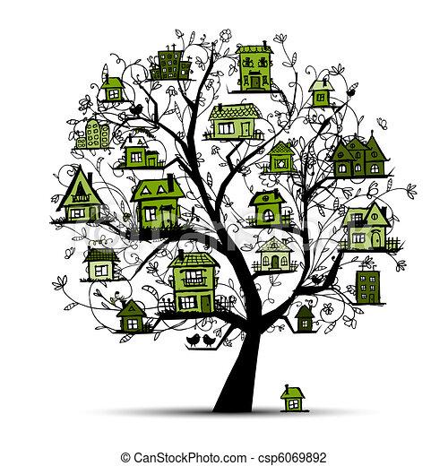 Árbol con casas verdes sobre ramas - csp6069892