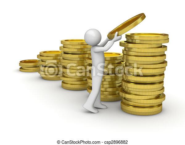 ramassage, homme argent - csp2896882