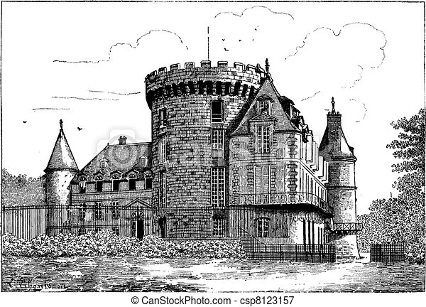 rambouillet, ouderwetse , chateau, engraving. - csp8123157