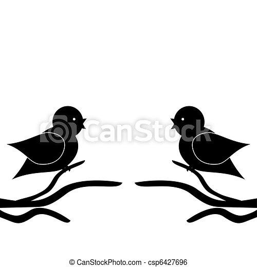 Dos pájaros en ramas - csp6427696