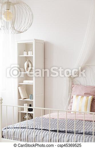 Ramme, metal, seng, lampe, bogreol, soveværelse, hvid stock foto ...