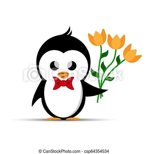 Pingüino con un arco rojo en el pecho y un ramo de flores amarillas - csp64354534