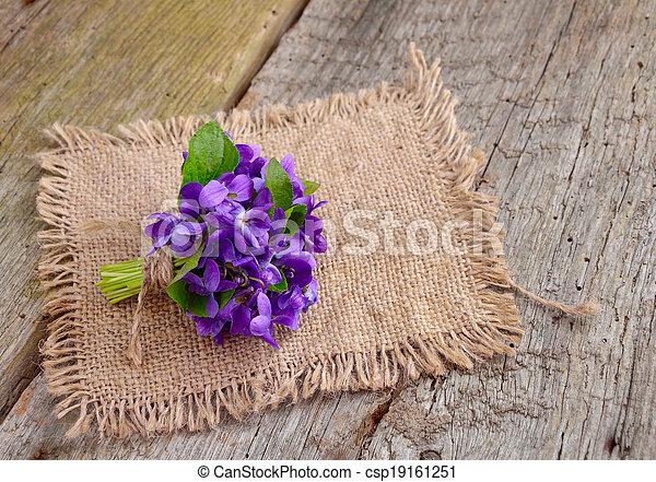 Un pequeño ramo con violetas de prado a bordo. - csp19161251