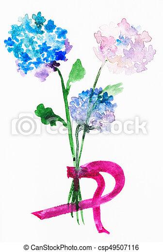 Ramo Flores Frescas Hortensia Entrenamiento Ramo Pinturas
