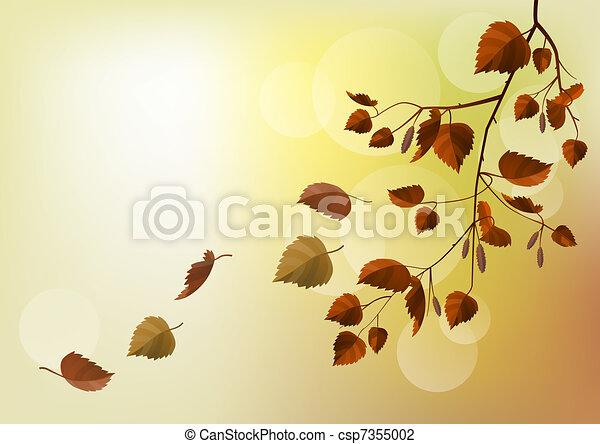 ramo, luz, folhas, outono, experiência bege - csp7355002