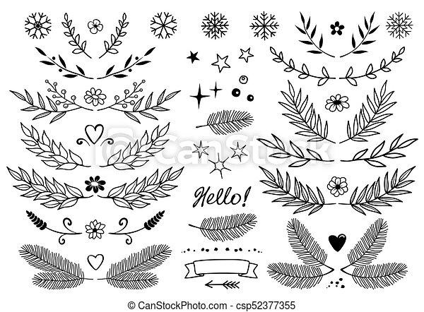 Ramos Jogo Snowflakes Flores Elementos Desenho Estilo Jogo