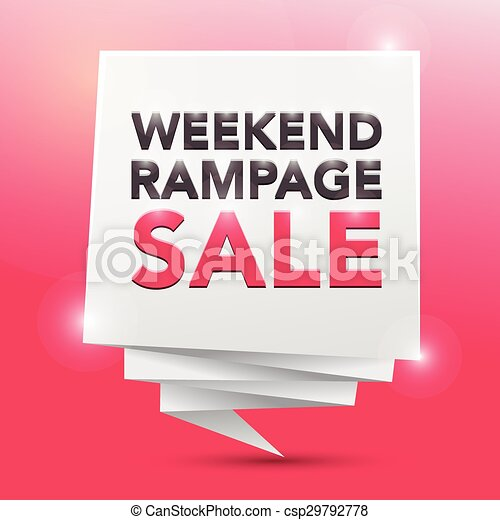 Venta de envíos de fin de semana, diseño de carteles - csp29792778