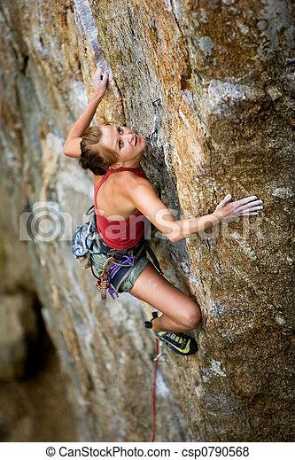 rampicante, femmina, roccia - csp0790568