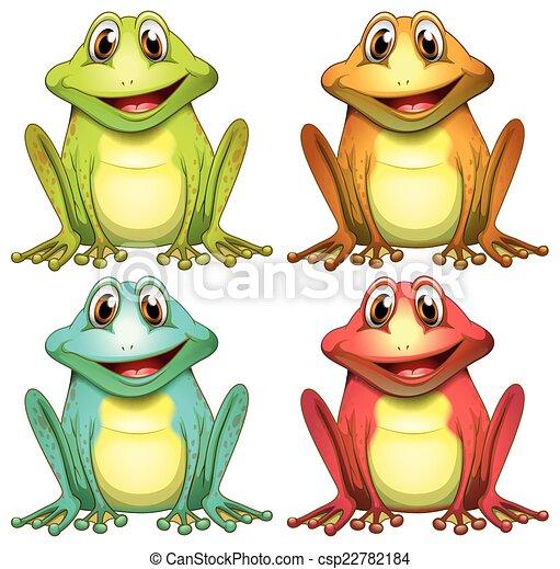 Color, ranas, diferente, ilustración.