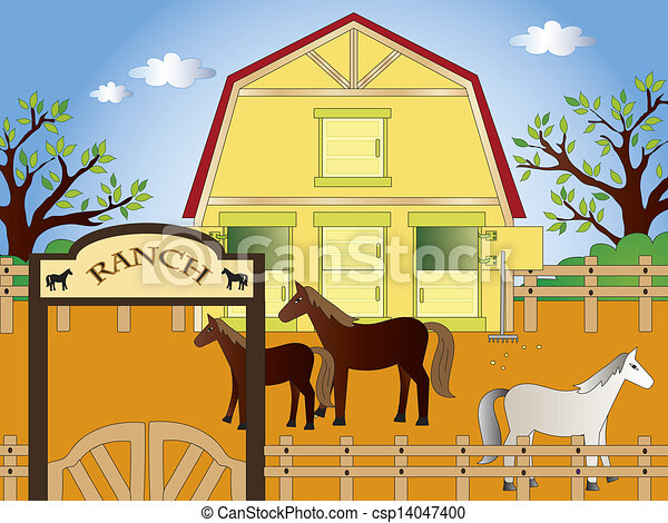 Chevaux ranch illustration - Dessin du ranch ...
