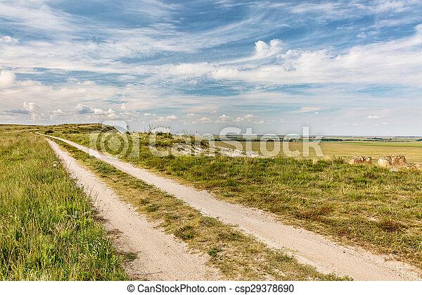 ranch road over prairie - csp29378690
