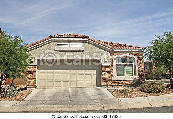 Ranch Stucco Home in Tucson, Arizona - csp83717328