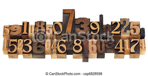 random numbers in letterpress type - csp6828598