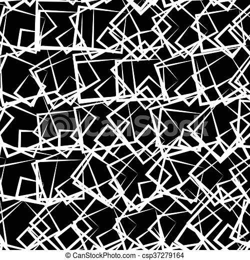 Random, scattered squares abstract uncolored geometric pattern - csp37279164