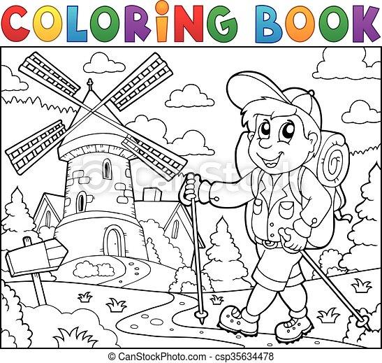 randonneur, éolienne, livre coloration - csp35634478