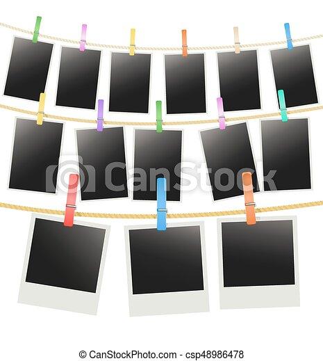 rangées, photo, trois, corde, vecteur, pendre, cadres, clothespins. - csp48986478