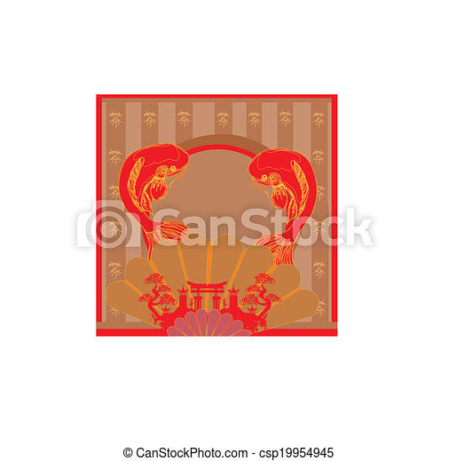 Range of building and japanese koi frame eps vector - Search Clip ...