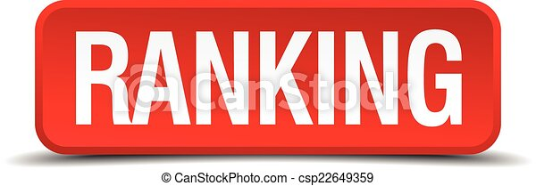 Ranking red 3d square button isolated on white - csp22649359