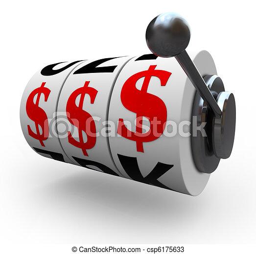 Señales de dólares sobre ruedas tragaperras - csp6175633