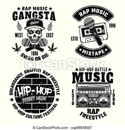 rap and hip-hop vector monochrome emblems. set of four rap and hip-hop  vector monochrome emblems, labels, badges or logos | canstock  can stock photo