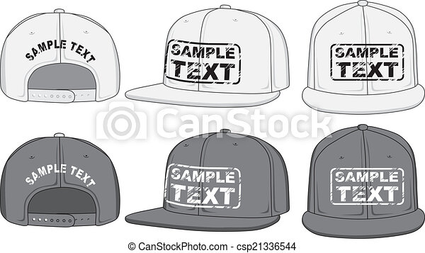 Rap cap, front, back and side view. Vector - csp21336544