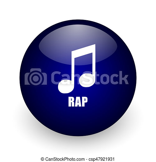 Rap music blue glossy ball web icon on white background  Round 3d render  button