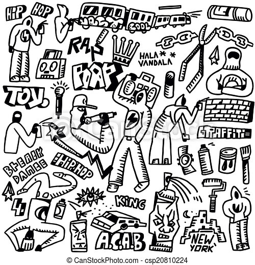 rap hip hop graffiti doodles set rap hip hop graffiti set
