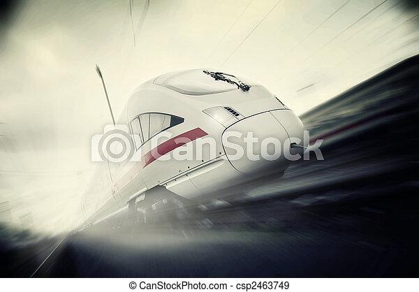 rapidamente, em movimento, trem passageiro - csp2463749