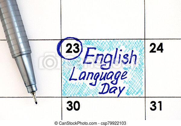 rappel, langue, calendrier, anglaise, stylo, jour - csp79922103