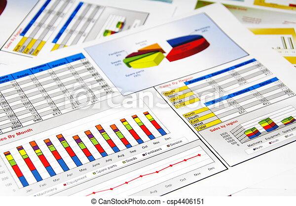 rapport, grafieken, statistiek, verkoopgrafieken - csp4406151