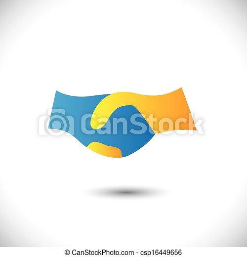rappresentare, associazione, scuotere, associazione, &, -, gesti, anche, unità, dai carte, affari nuovi, friendship., simbolo, illustrazione, mano, icona, questo, augurio, fiducia, ecc, vettore, lattina - csp16449656