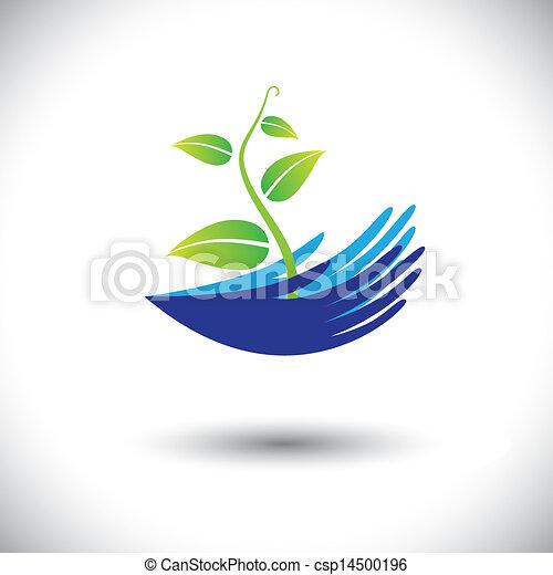 rappresentare, pianta, concetto, lattina, icon(symbol)., piantina, donna, graphic-, mani, ecc, illustrazione, concetti, ambientale, vettore, foresta, protezione, piante, conservazione, o, come - csp14500196