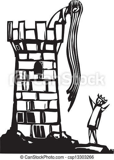 Rapunzel S Tower Fairytale Woodcut Image Of Long Hair Rapunzel In Her Tower