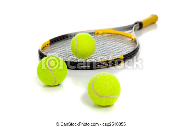 Raqueta de tenis con bolas amarillas en blanco - csp2510055