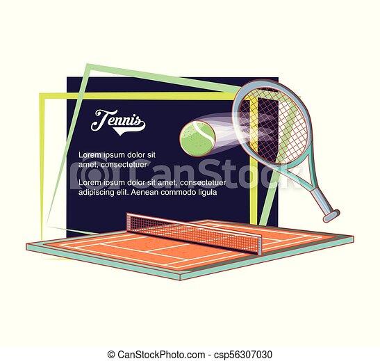 Cortes de tenis con raqueta y pelota - csp56307030