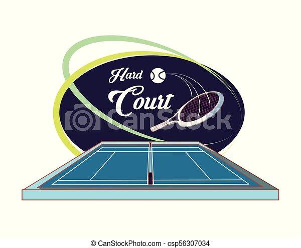 Cortes de tenis con raqueta y pelota - csp56307034