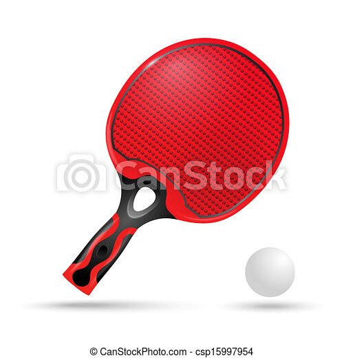 Raquette balle rouges ping pong - Raquette dessin ...
