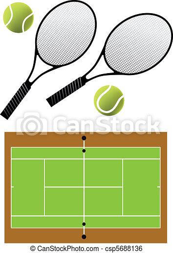 Raquette balles tennis vecteur balles tribunal - Raquette dessin ...