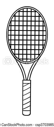 Raquette blanc tennis noir tennis isol illustration - Dessin raquette ...