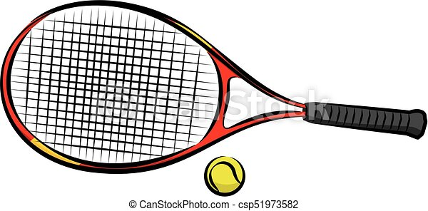 raquette, boule tennis - csp51973582