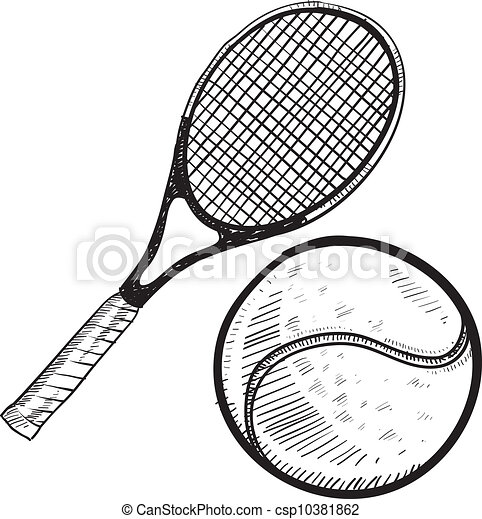 Raquette croquis boule tennis style balle griffonnage - Dessin raquette ...