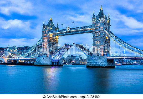 Rare image of Tower Bridge fully open - csp13428482