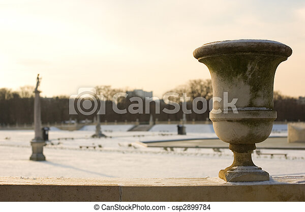 Rare snowy day in Paris. Lots of snow in the Luxembourg Garden - csp2899784