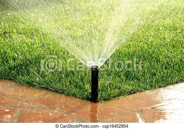 Rasen Bewässerungssystem rasen kleingarten bewässerung irrigationsystem stockbilder