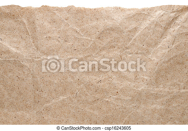rasgado, aislado, borde, papel, plano de fondo, blanco, kraft - csp16243605