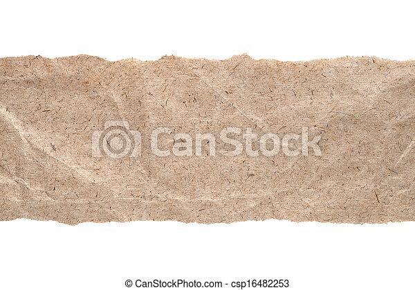 rasgado, aislado, bordes, papel, plano de fondo, blanco, kraft - csp16482253