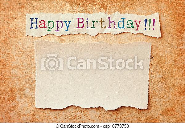 rasgado, grunge, bordes, cumpleaños, fondo., tarjeta de papel, feliz - csp10773750