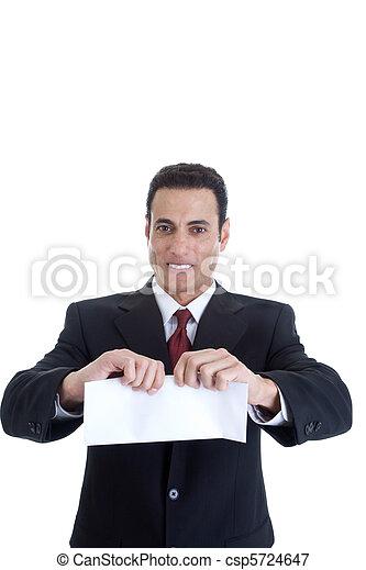 rasgando, bonito, isolado, envelope, homem, caucasian branco - csp5724647