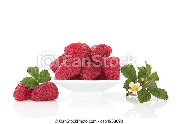Raspberries and Flower Leaf Sprigs - csp4953698