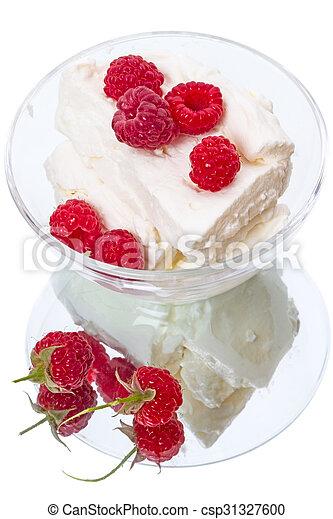 Raspberries and ice cream - csp31327600